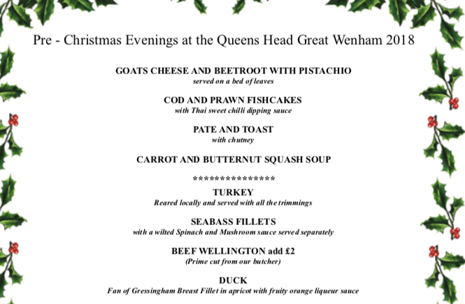 December 2018 Pre-Christmas party menu